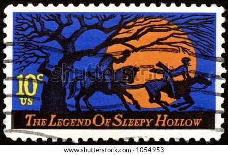 Vintage US Legend of Sleepy Hollow Halloween stamp. Ten cents. - stock photo