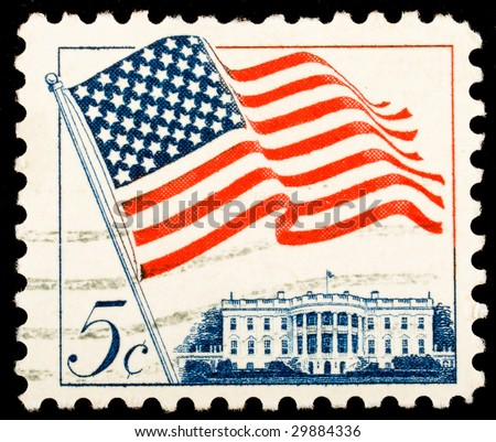 Vintage US postage stamp - stock photo