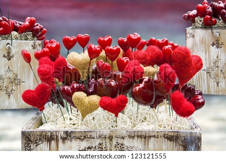 Vintage Valentine boxes with hearts. Shallow DOF - stock photo