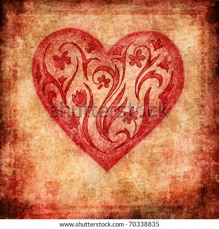 Vintage Valentine, floral heart on grunge background - stock photo