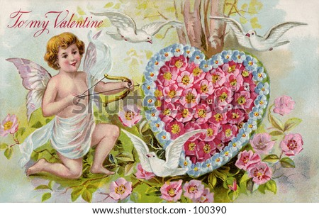 Vintage Valentine illustration (circa 1910) - stock photo