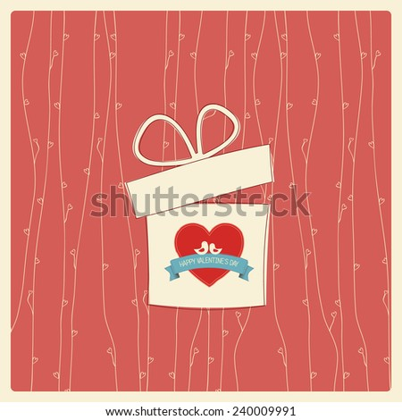 Vintage Valentine's day card with soft colors and simple hand drawn image for retro look.