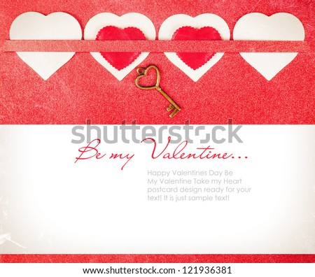 Vintage Valentines day card with red hearts dust and scratches - stock photo