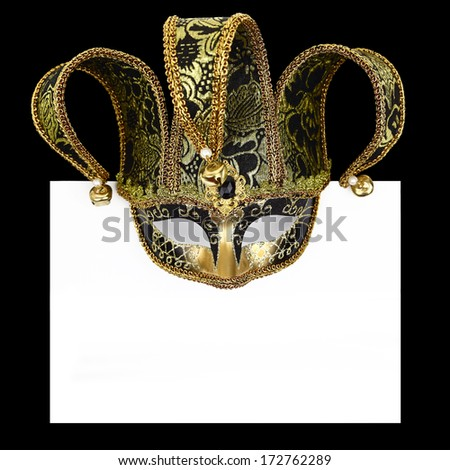 Vintage venetian carnival mask with blank label - stock photo