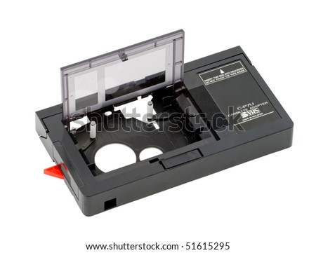 Vintage VHS Cassette Adapter Isolated on White Background - stock photo