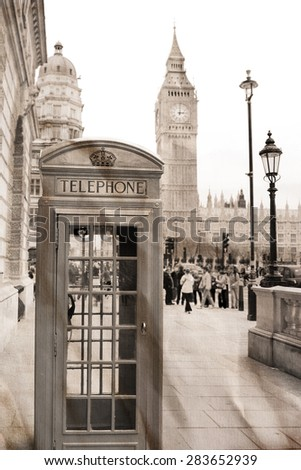 Vintage view of London, Big Ben &  phone booth - stock photo