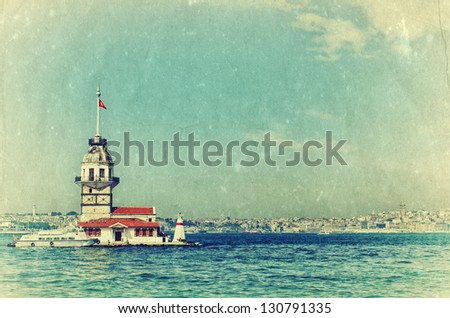 Vintage view of Maiden's Tower in Istanbul, Turkey. Retro style photo.