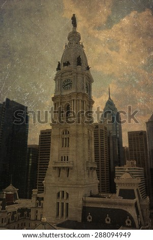 Vintage view of the historic City Hall bell tower in Philadelphia - stock photo