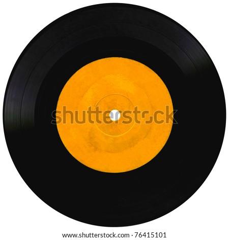 Vintage vinyl record isolated on white - stock photo