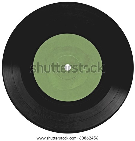 Vintage vinyl record isolated on white background - stock photo