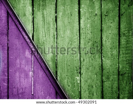 vintage violet and green planks background - stock photo