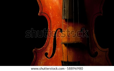 vintage violin detail isolated on black - stock photo