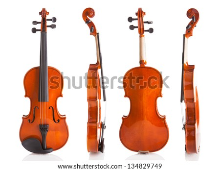 Vintage Violin From Four Sides Isolated On White Background - stock photo