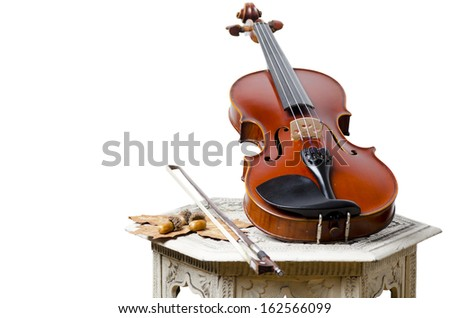 Vintage Violin on the wooden white table, isolated on white - stock photo