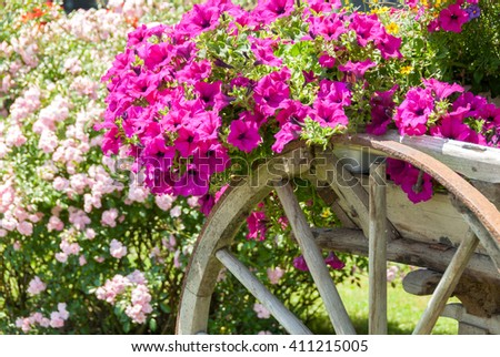 Vintage wagon decorated with annual flowers IV - stock photo