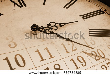 Vintage wall clock and calendar, time concept