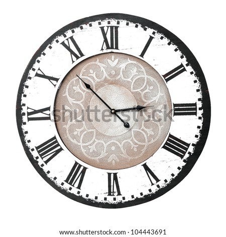 vintage wall clock with roman numbers - stock photo