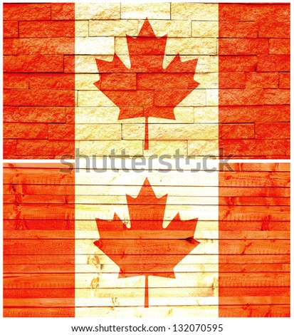Vintage wall flag of Canada collage
