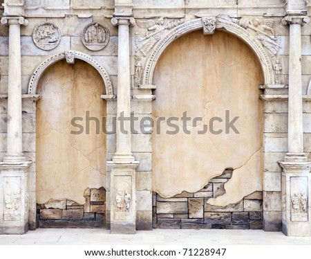 Vintage Wall in Roman Style - stock photo