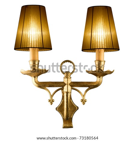 vintage wall lamp isolated on white