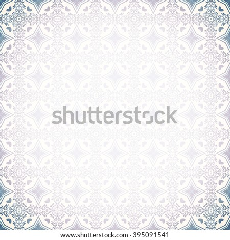 Vintage wall-paper vignettes, Blue. Geometrical seamless ornament. Textiles, packing paper, wall. Retro classical style. - stock photo