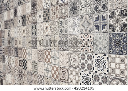 Vintage wall tile texture background.
