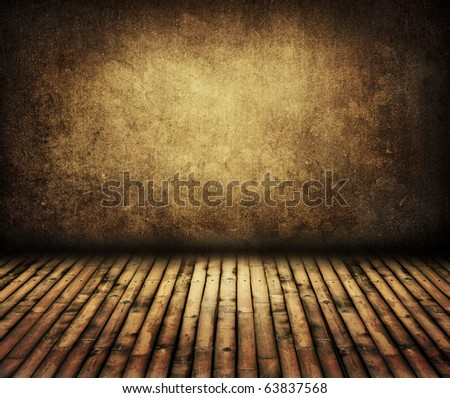 vintage wall with bamboo floor in room style - stock photo
