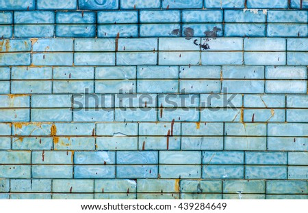 Vintage wall with blue tile - background - stock photo