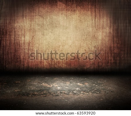vintage wall with grunge floor in room style - stock photo