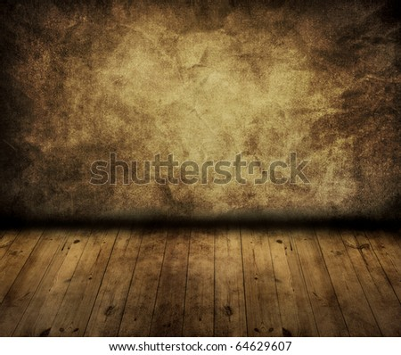 vintage wall with oak floor in room style - stock photo