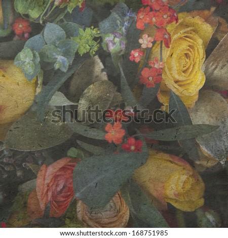vintage wallpaper background wist wedding flower - stock photo