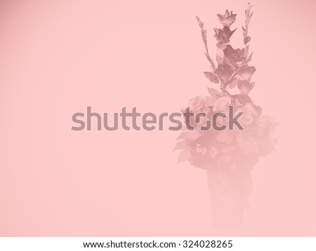 vintage wallpaper background with flower bouquet - stock photo