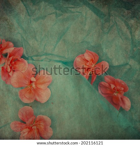 vintage wallpaper background with flowers of geranium - stock photo