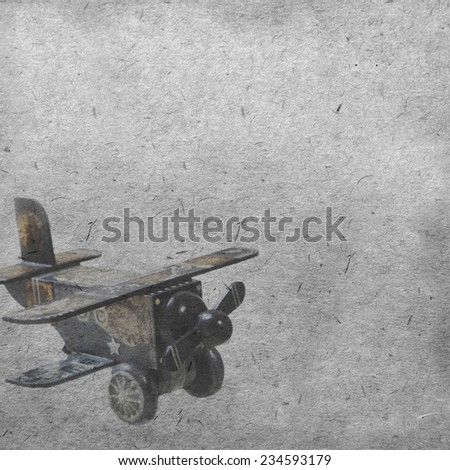 vintage wallpaper background with plane - stock photo