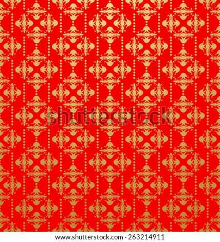 Vintage Wallpaper Old Style for Your Design. Image Red Color. - stock photo