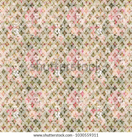 Vintage Wallpaper Pattern In Shades Of Rose And Moss Green