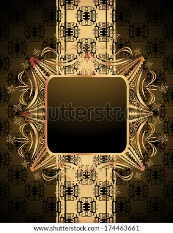 Vintage wallpaper with a ribbon and frame. - stock photo