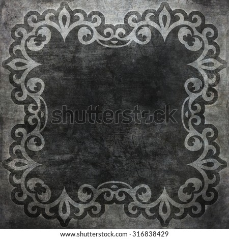 Vintage wallpaper with frame. Old shabby background  - stock photo