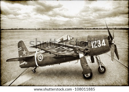 Vintage War Plane - stock photo