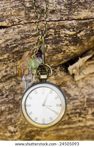 vintage watch over wood background. - stock photo