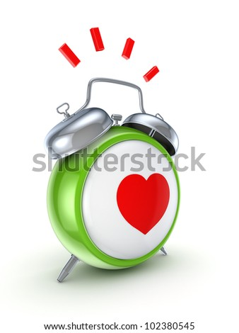 Vintage watch with a red heart.Isolated on white background.3d rendered. - stock photo