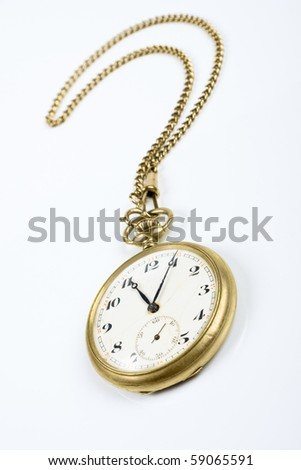 vintage watch with chain symbolizing concept of necessary time - stock photo