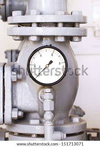 vintage water pressure gauge - stock photo
