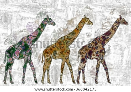 Vintage watercolor captures the spirit of africa - stock photo