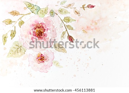 Vintage Watercolor Roses (hand drawn) - stock photo