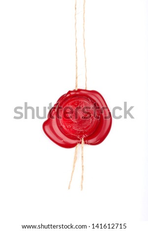 Vintage wax seal with pigeon over white - stock photo