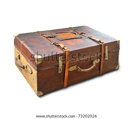 Vintage weathered leather suitcase, used as back car luggage in 1930s, isolated on white background - stock photo