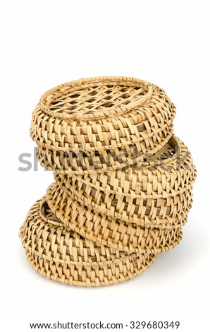 Vintage weave wicker basket isolated on white background