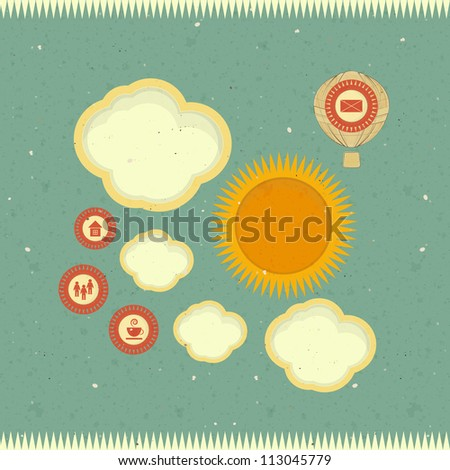 Vintage web design, template in retro style - JPEG version - stock photo