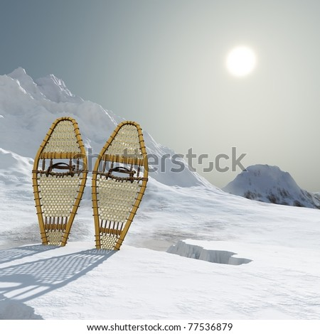 Vintage webbed wooden snowshoes standing in the snow atop a cold mountain. Hazy bright sun sky, Rich shadows and colors. Original illustration. - stock photo